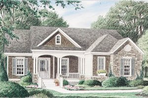 Cottage Exterior - Front Elevation Plan #34-110