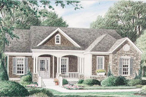 Cottage Exterior - Front Elevation Plan #34-110