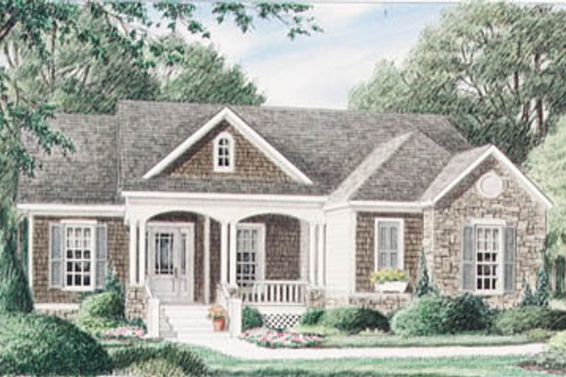 Cottage Style House Plan - 3 Beds 2 Baths 2080 Sq/Ft Plan #34-110