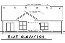 Home Plan - Ranch Exterior - Rear Elevation Plan #20-2270