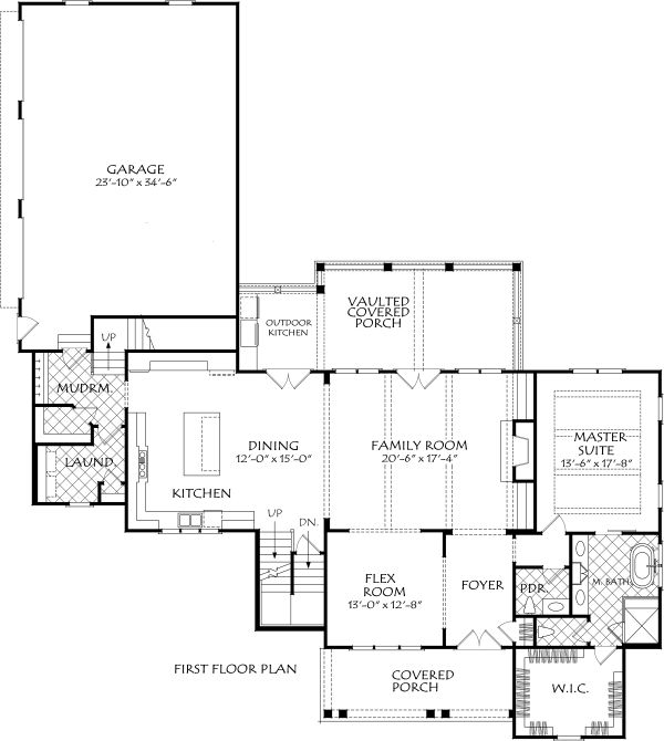 Farmhouse Floor Plan - Main Floor Plan Plan #927-996