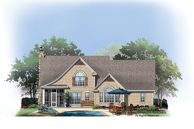 European Exterior - Rear Elevation Plan #929-907 - Houseplans.com