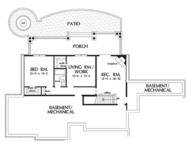 Craftsman Floor Plan - Lower Floor Plan Plan #929-919