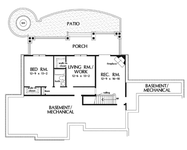 Craftsman Floor Plan - Lower Floor Plan Plan #929-919