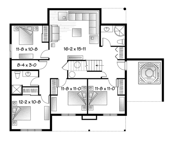 European Floor Plan - Lower Floor Plan Plan #23-2512
