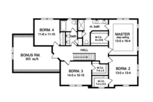 Colonial Floor Plan - Upper Floor Plan Plan #1010-155