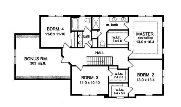Colonial Floor Plan - Upper Floor Plan Plan #1010-155