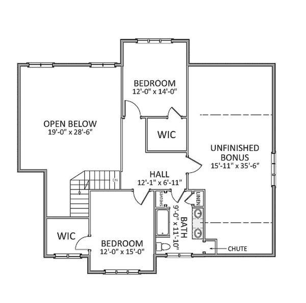 Farmhouse Floor Plan - Upper Floor Plan Plan #898-20