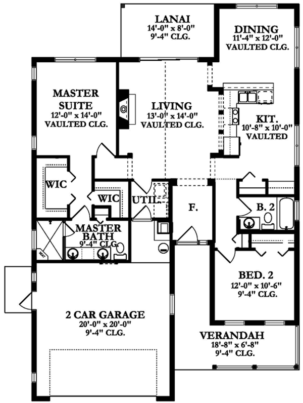Ranch Floor Plan - Main Floor Plan Plan #1058-104