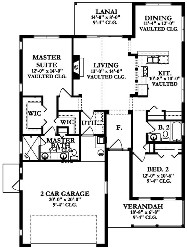 Ranch Floor Plan - Main Floor Plan Plan #1058-104