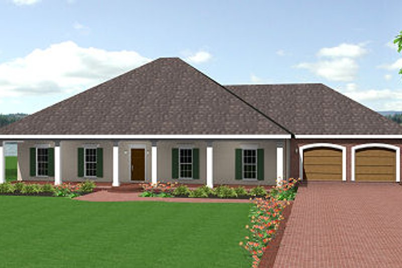 Southern Style House Plan - 3 Beds 2 Baths 2091 Sq/Ft Plan #44-142 Exterior - Front Elevation