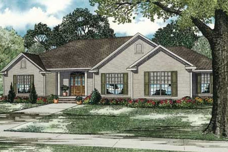 Traditional Style House Plan - 3 Beds 2.5 Baths 2096 Sq/Ft Plan #17-2293 Exterior - Front Elevation