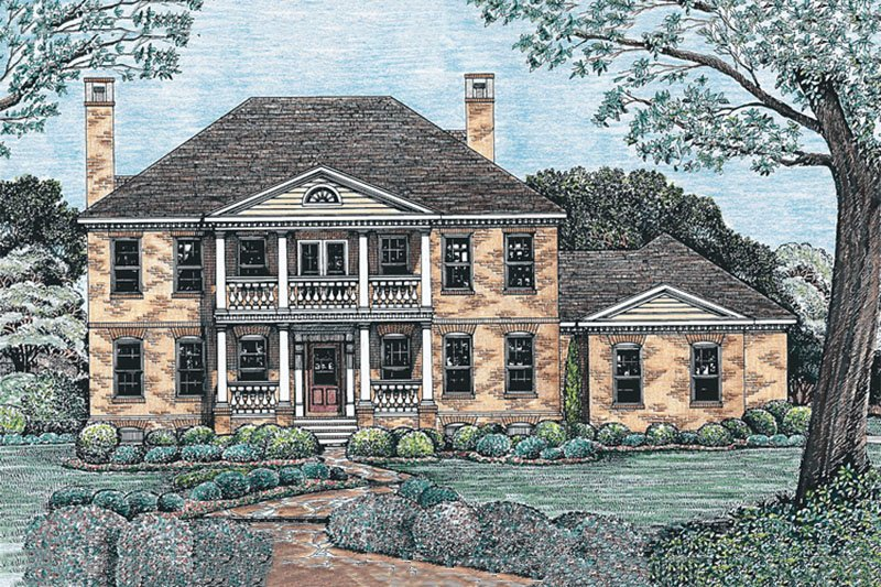 Southern Exterior - Front Elevation Plan #20-1062