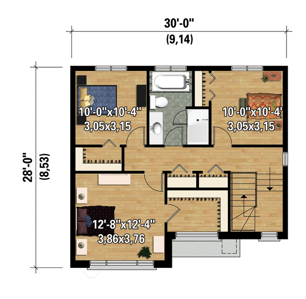 Contemporary Floor Plan - Upper Floor Plan Plan #25-4278