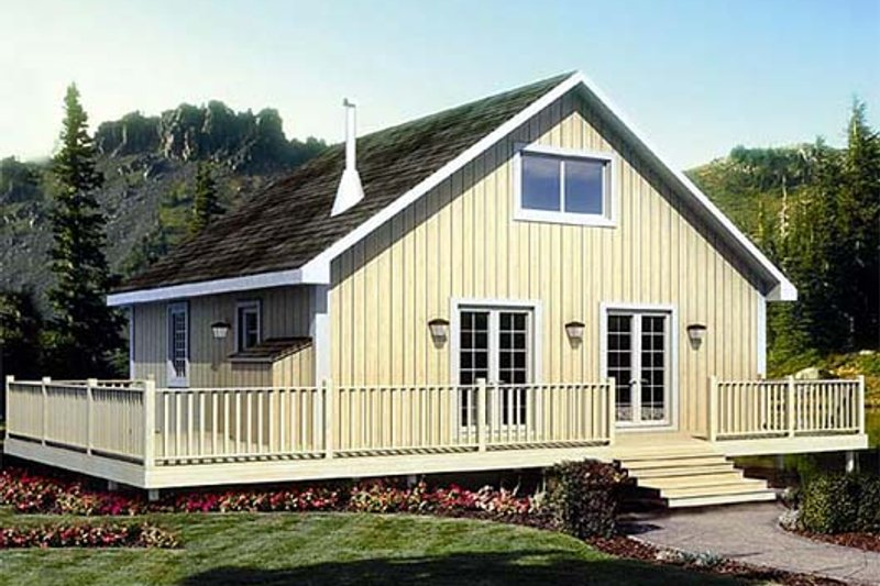 Cabin Style House Plan - 2 Beds 1 Baths 1090 Sq/Ft Plan #312-877 Exterior - Front Elevation