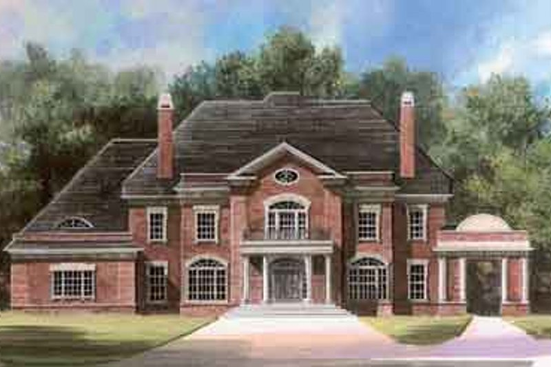 Colonial Style House Plan - 5 Beds 6.5 Baths 5083 Sq/Ft Plan #119-161 Exterior - Front Elevation