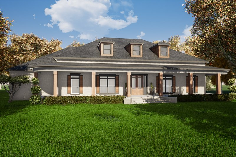 Southern Exterior - Front Elevation Plan #923-84