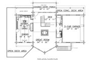 Log Style House Plan - 5 Beds 3.5 Baths 3492 Sq/Ft Plan #117-271 Floor Plan - Main Floor
