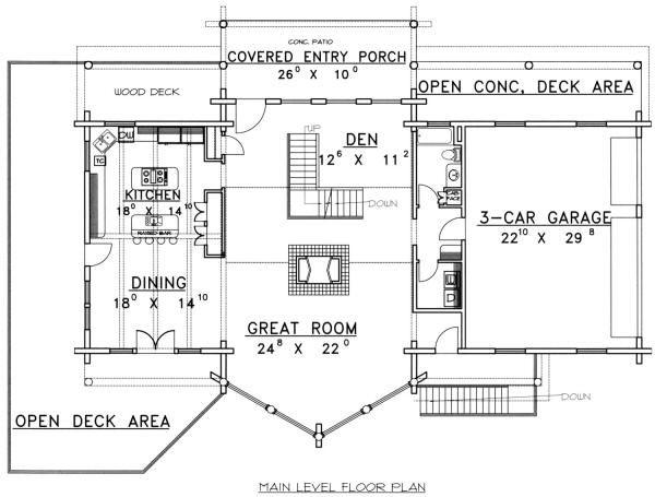 Log Floor Plan - Main Floor Plan Plan #117-271