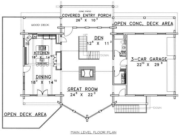 Log Floor Plan - Main Floor Plan #117-271