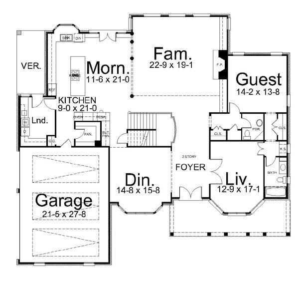 European Style House Plan - 5 Beds 4.5 Baths 4463 Sq/Ft Plan #119-315 Floor Plan - Main Floor Plan