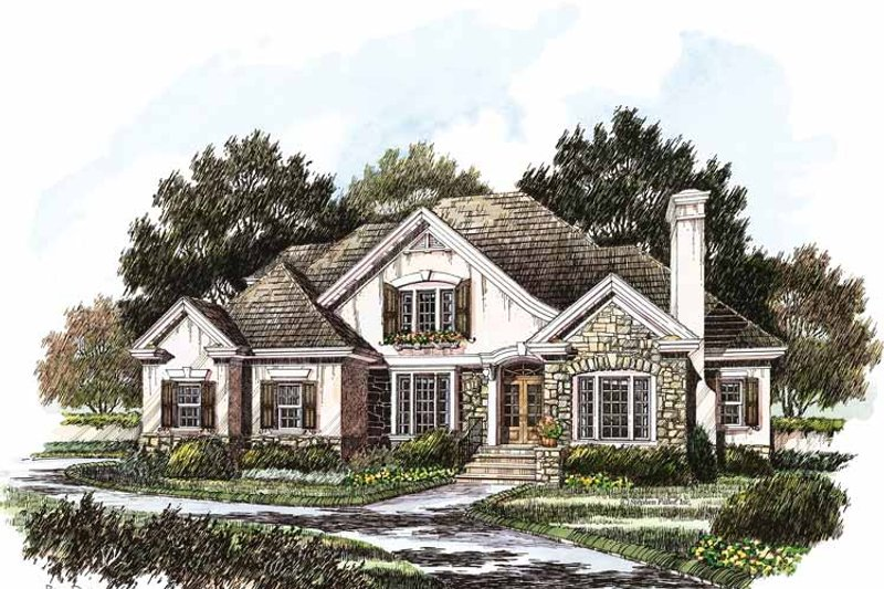 Country Exterior - Front Elevation Plan #429-214