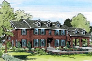 Colonial Exterior - Front Elevation Plan #312-335