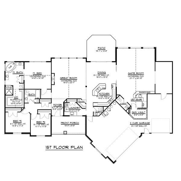 House Plan Design - Craftsman Floor Plan - Main Floor Plan #1064-78
