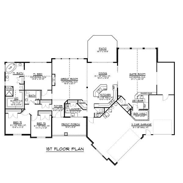 Dream House Plan - Craftsman Floor Plan - Main Floor Plan #1064-78