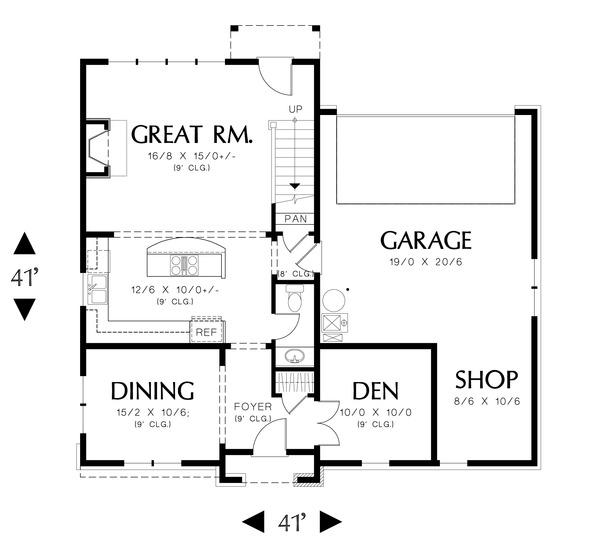 European Floor Plan - Main Floor Plan Plan #48-558