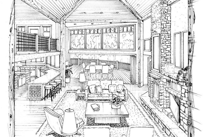 Architectural House Design - Craftsman Interior - Family Room Plan #942-11