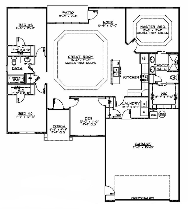 Ranch Floor Plan - Main Floor Plan Plan #1064-5