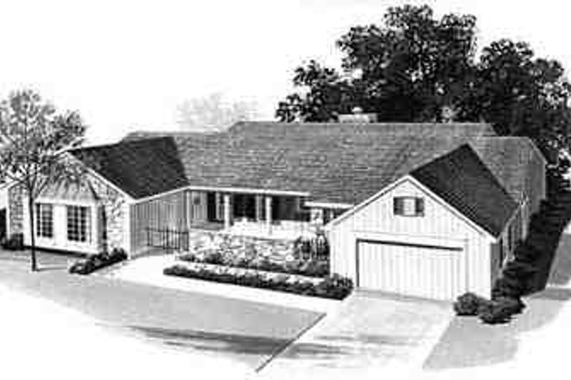 Ranch Exterior - Front Elevation Plan #72-208 - Houseplans.com