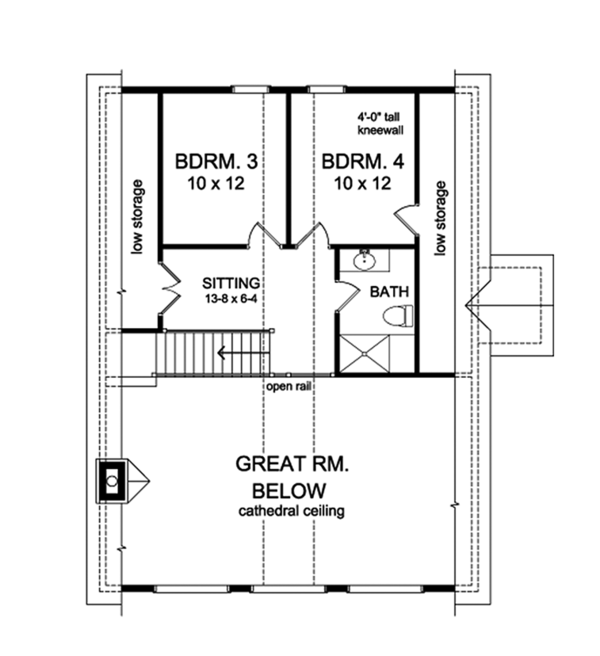 Cabin Floor Plan - Upper Floor Plan Plan #1010-148