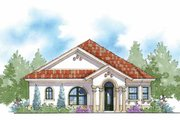 Mediterranean Style House Plan - 3 Beds 2 Baths 1585 Sq/Ft Plan #938-27 Exterior - Front Elevation