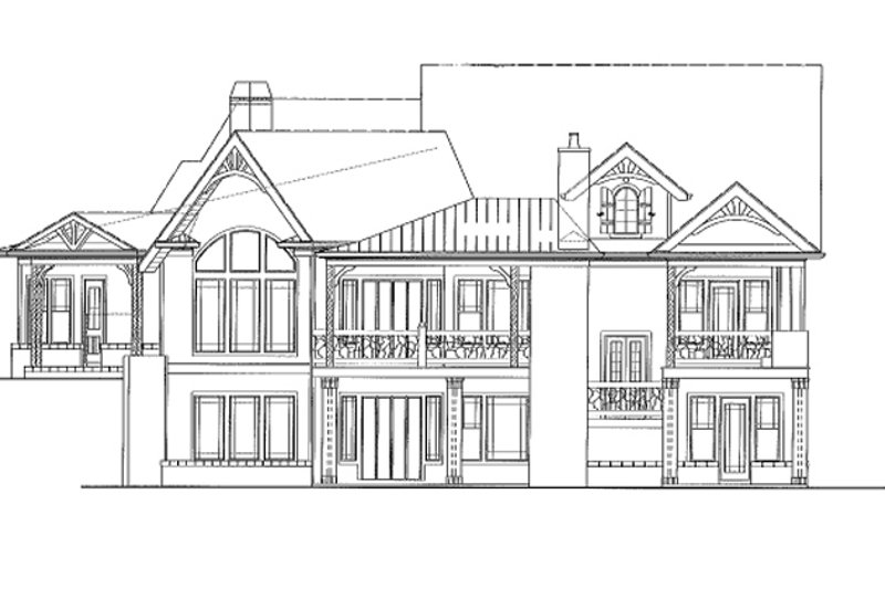 Craftsman Exterior - Rear Elevation Plan #54-373 - Houseplans.com