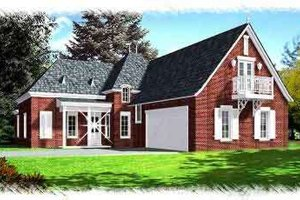 European Exterior - Front Elevation Plan #15-274