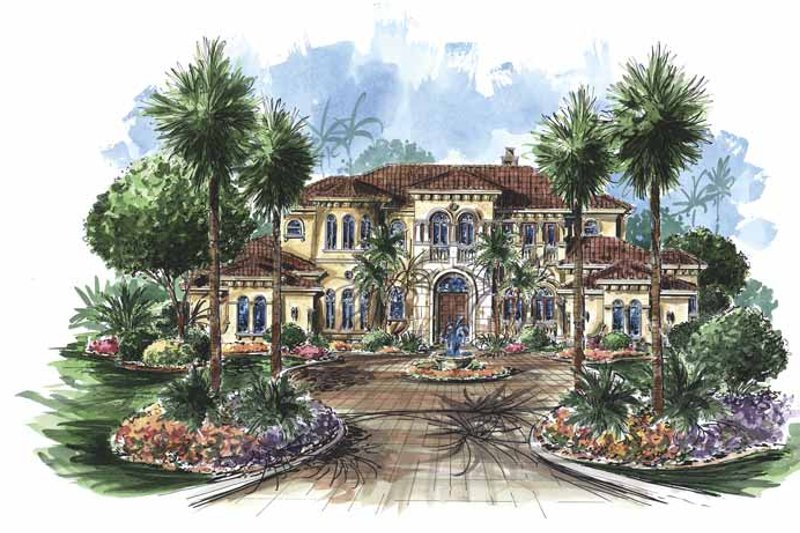 Dream House Plan - Mediterranean Exterior - Front Elevation Plan #1017-75