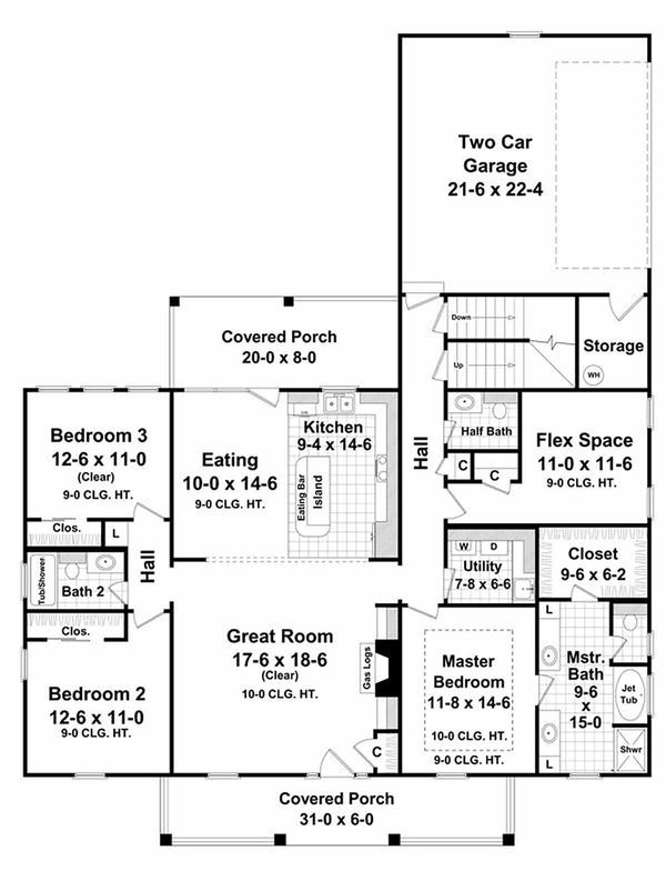 Southern Style House Plan - 3 Beds 2.5 Baths 1903 Sq/Ft Plan #21-255 Floor Plan - Main Floor Plan