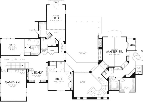 European Floor Plan - Upper Floor Plan Plan #48-962