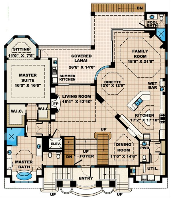 Mediterranean Floor Plan - Main Floor Plan Plan #27-432