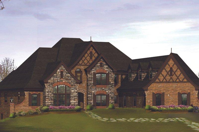 Dream House Plan - Tudor Exterior - Front Elevation Plan #57-575