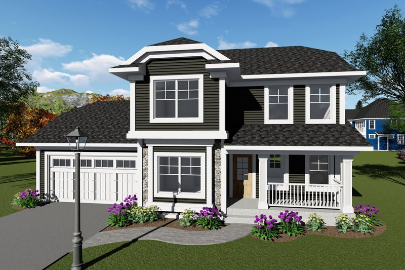 Craftsman Style House Plan - 3 Beds 2.5 Baths 1413 Sq/Ft Plan #70-1411 Exterior - Front Elevation