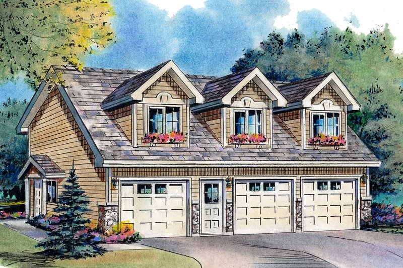 Country Garage with living space plan