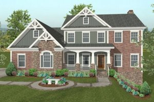 Dream House Plan - Craftsman Exterior - Front Elevation Plan #56-584