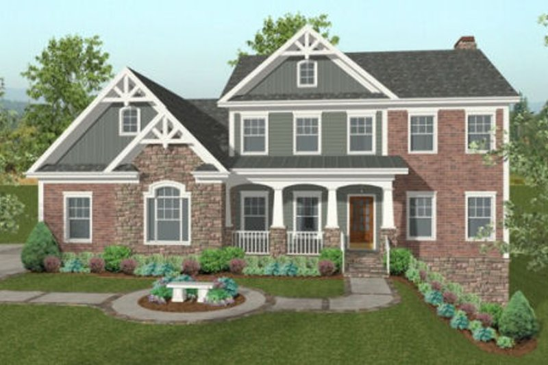 Craftsman Exterior - Front Elevation Plan #56-584