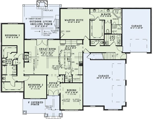 European Floor Plan - Main Floor Plan Plan #17-2496