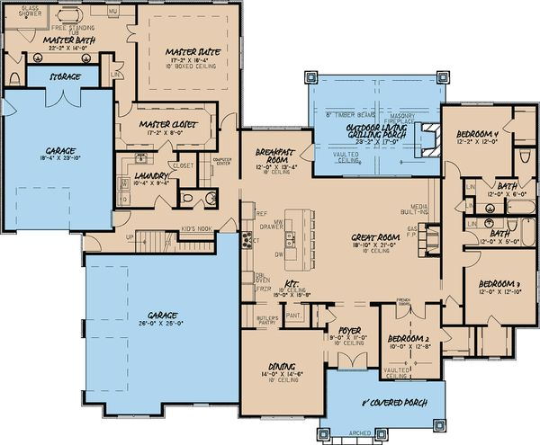 Architectural House Design - European Floor Plan - Main Floor Plan #923-17