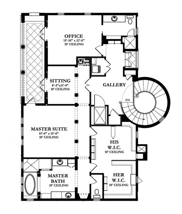 Mediterranean Floor Plan - Upper Floor Plan #1058-14