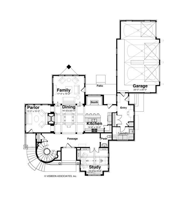 Craftsman Style House Plan - 3 Beds 2.5 Baths 3477 Sq/Ft Plan #928-244 Floor Plan - Main Floor Plan